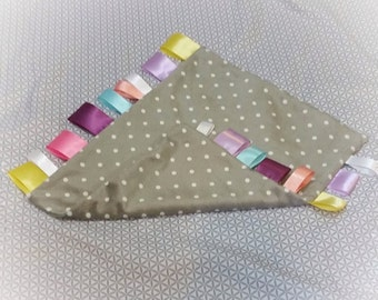 Tag Blankie - Grey with White Polka Dots