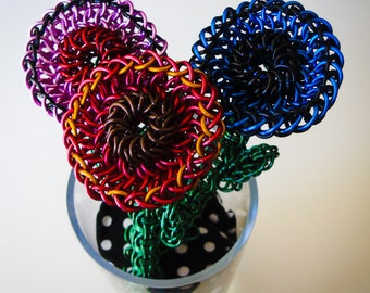 Chainmaille Flower w/Stem, customize, personalize, decor, gift, flower, chainmaille, chainmail, handmade