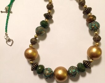 Gold & Green Statement Necklace
