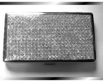 Premier Quality Crystal Rhinestone Cigarette Case Box - 100s 120s plus Mirror- Bling Bling