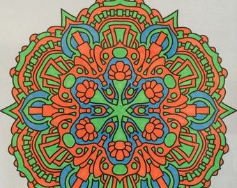 "Framed Mandala ""Neon Lotus"""