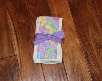 Set of 3 Purple Butterfly Diaper Burp Cloths