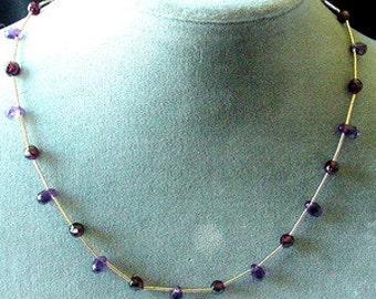 Made In USA! Genuine Amethyst Briolette And Garnet Necklace! 200006