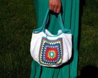 Beach bag Crochet beach bag Bright colors bag Summer bag Beach accessories Boho style bag Retro crochet bag Crochet boho bag Granny square