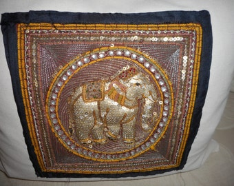 Golden Elephant I Luxury Throw Pillow, Hand Stitched Vintage Fabric