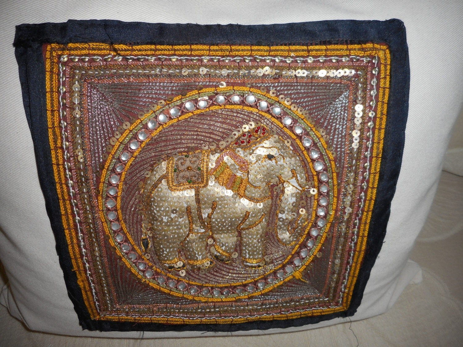 Golden Elephant I Luxury Throw Pillow Hand Stitched Vintage