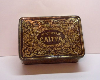 Antique Biscuiterie Caiffa Tin, French Toleware C1900, 7 x 4 3/4 x 3 inches