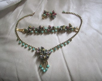 Vintage Juliana Handpainted Polka Dot Necklace, Bracelet & Earring Set