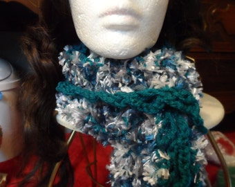 Teal Blue Grey White Fuzzy Crochet Winter Scarf
