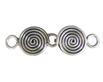 SALE Handmade Bali 925 Oxidized Sterling Silver ornament clasp - 1 set