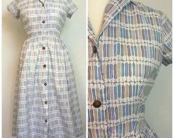 Vintage Mid-Century 1950s Atomic Print Shirtwaist Dress 12 14 M