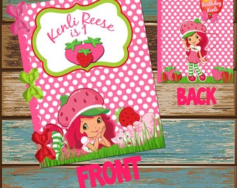 Strawberry Shortcake Coloring Book Cover First Birthday, Bridal/Baby Shower and Happy Birthday