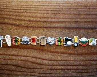 i love to quilt charm bracelet