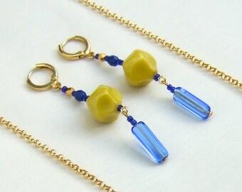 Earrings Blue & Yellow