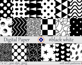 Digital paper basics pack #black white
