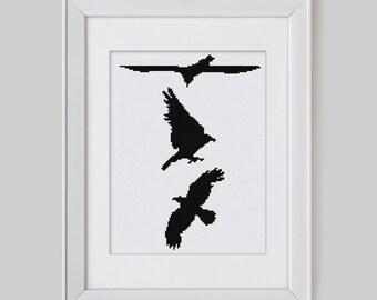 Cross stitch pattern, Raven cross stitch pattern, Game of thrones raven cross stitch pdf pattern