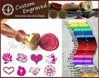 1pc of 70 Styles LOVE Hearts Valentines Wedding Invitation Wax Seal Stamp + 1 Wax Stick