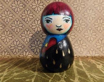 Rainie, little wood peg doll