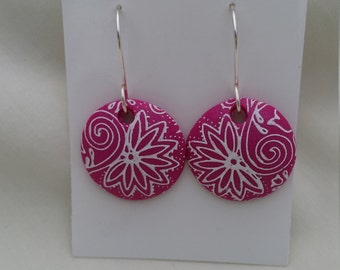 Polymer Clay Earrings...silk screened white on magenta