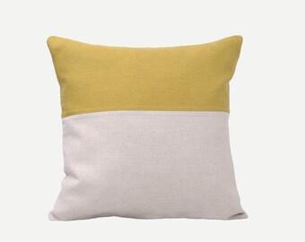 SALE! Mustard Yellow Natural Linen Pillow Case
