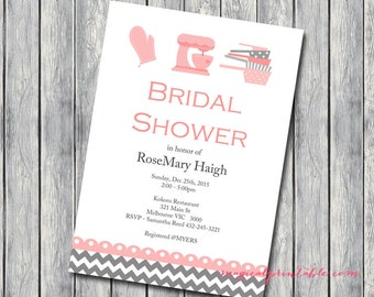 Custom Invite, Kitchen Theme Bridal Shower Invitation, Recipe Theme, Cooking Theme, Baking Theme Invitation, YOU PRINT INVITATION Bs76