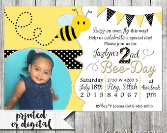 Bee Birthday Invitation, Bee Day Invitation, Bee Day Birthday, Bumblebee Birthday Invitation, Bumblebee Party, Bee Party Invitation, Invite
