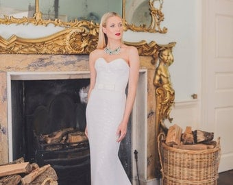 Sophisticated Fitting Wedding Dress in Full White Sequin.