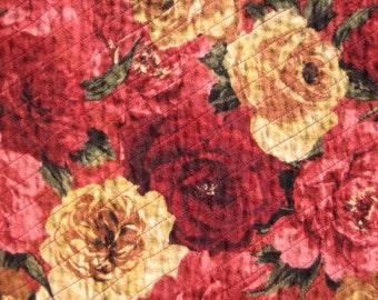 Handmade Rose Floral  Flannel Rag Throw Quilt