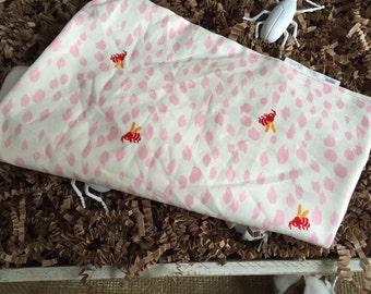 Pink Bee Burp Cloth