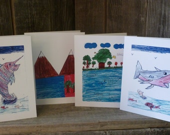 Land and Sea blank greeting cards