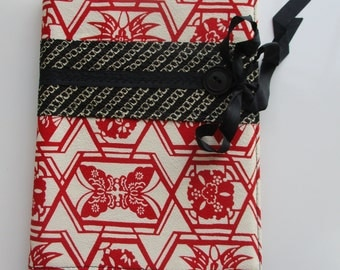 A5 Book cover made from Japanese vintage silk kimono fabric