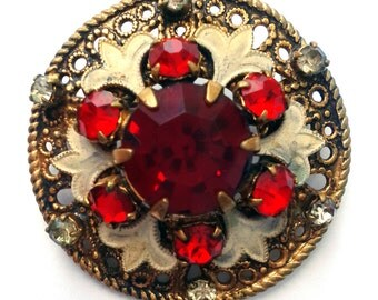 Vintage Brooch with red stones and white enamel