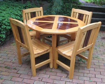 Walnut and Locust Outdoor Dining Set