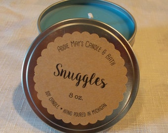 SNUGGLES Scent - Smells fresh & clean -Handmade All Natural  Soy Wax Candle Tin - 8 oz