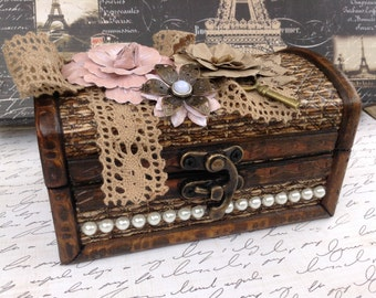 Decorated Wood Wicker Treasure, Trinket, Jewelry Box