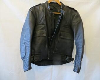 Biker Jacket /Motor Cycle Jacket/Blacke Motor Cycle jacket/Padded/Two front Pocket/gold top Jacket//M/L