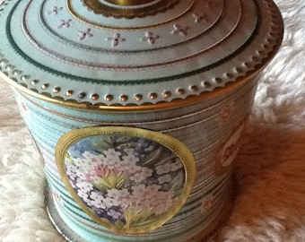Vintage Collectible English Striped and Floral Candy tin