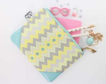 Yellow and blue leather Clutch/Leather coin purse/Original ANJESY Designs/Gift for her.