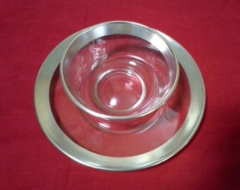 Dorothy Thorpe Sterling edged dip and condiment set