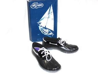 Womens shoes Sperry shoes Topsiders Boat Shoes Sperry Top-Sider duck Shoes Black blue rubber Size 9 1990s retro preppy