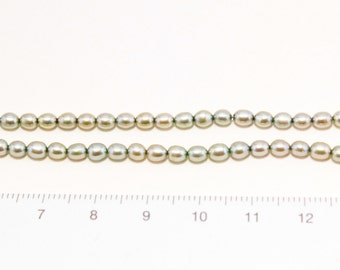 freshwater pearl pale green rice shape 1string/P-0002