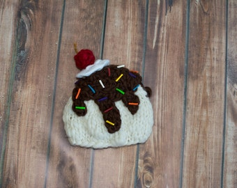 newborn ice cream sundae hat
