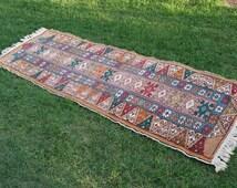 Vintage Turkish runner rug wool carpet