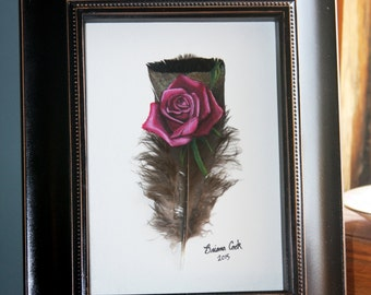 Painted Rose on Feather