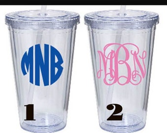 20oz. Clear tumblers with straws