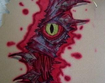 Demon Peek A Boo Painting, fine art surreal manga fantasy gothic goth rockabilly satanic halloween acrylic