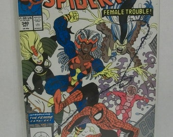 1990 The Amazing Spiderman #340 October  Female Trouble Introducing the Femme Fatales  VF-NM Unread  Vintage  Marvel Comic Book