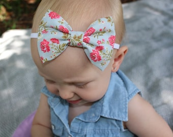 Gray and pink floral bow headband