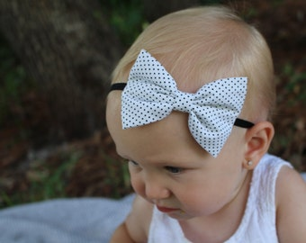 white with black dots bow Headband