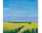Giclee Print of Original Oil Landscape Painting English Countryside, England. Oilseed Rape Hillesden l Canola Yellow by Catherine Winget
